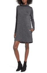 Leith Women's Funnel Neck Dress Grey Medium Charcoal Heather