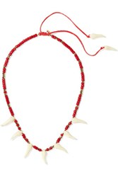 Aurelie Bidermann Squco Gold Plated Coral And Resin Necklace One Size