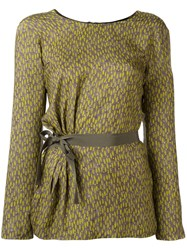 Etro Printed Belted Blouse Grey