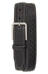 Johnston And Murphy Woven Leather Belt Black
