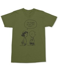 Mighty Fine Men's Charlie Brown And Luci Van T Shirt Army