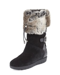 Aquatalia By Marvin K Weslyn Faux Fur Trimmed Toggle Snow Boot Black Aquatalia