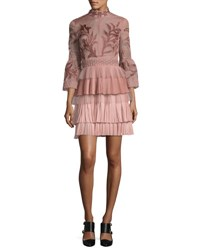 J. Mendel Embroidered 3 4 Bell Sleeve Cocktail Dress Pink
