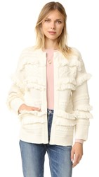 Madewell Joy Fringe Cable Mix Cardigan Antique Cream