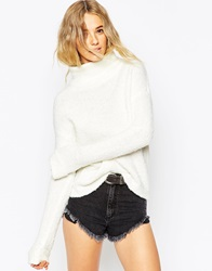 Asos Chunky Jumper With High Neck In Boucle Cream