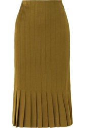 Haider Ackermann Pleated Twill Midi Skirt Army Green