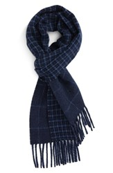 Polo Ralph Lauren Men's Reversible Wool Blend Scarf Indigo Hthr