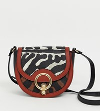 Stradivarius Mixed Animal Print Cross Body Bag In Multi