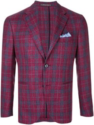 Cantarelli Plaid Fitted Jacket Pink And Purple