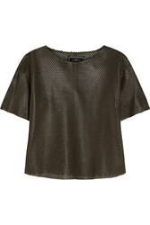 By Malene Birger Auralias Perforated Leather Top Green