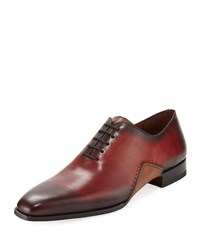 Magnanni Men's Two Tone Lace Up Sole Stitch Dress Shoe Red