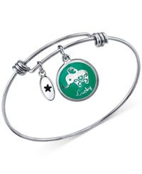 Unwritten Elephant Charm Adjustable Bangle Bracelet In Stainless Steel With Silver Plated Charms