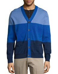 Brooks Brothers Ribbed Colorblock Cardigan Blue