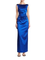 Talbot Runhof Sleeveless Ruched Gown Royal