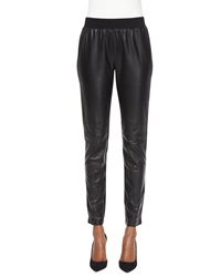Lafayette 148 New York Leather Panel Moto Leggings Black
