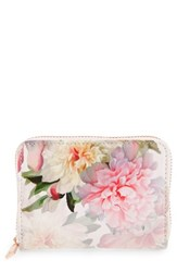 Ted Baker Women's London Mini Painted Posie Zip Around Leather Wallet Pink Baby Pink