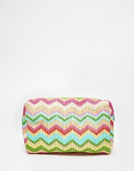Asos Oversized Straw Make Up Bag Multi