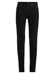 Saint Laurent Mid Rise Distressed Skinny Jeans Black