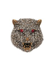 Gucci Feline Crystal Brooch Gold Red