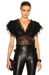 Rodarte Lace Trim And Laser Cut Detail Blouse In Black