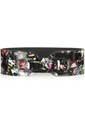 Mcq By Alexander Mcqueen Floral Print Patent Leather Belt
