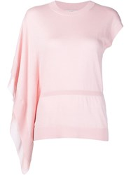 Halston Heritage One Shoulder Knitted Top Pink And Purple