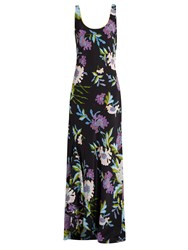 Diane Von Furstenberg Floral Print Silk Maxi Dress Black Multi