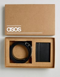 Asos Leather Belt And Wallet Gift Set With Saffiano Emboss Black
