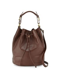 Kelsi Dagger Dusen Leather Drawstring Bucket Bag Brown