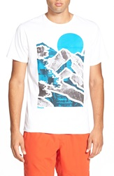 Bench 'Mountain Lines' Graphic Crewneck T Shirt Bright White