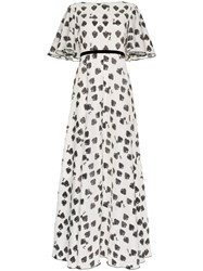 Vika Gazinskaya 7 Of Spades Flounce Sleeve Cotton Maxi Dress White