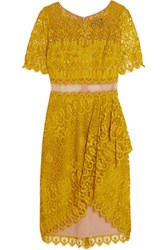 Marchesa Notte Draped Asymmetric Lace Dress Chartreuse
