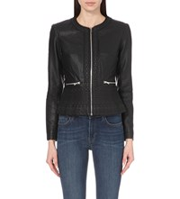 French Connection Diamond Stitch Faux Leather Jacket Black