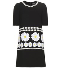 Dolce And Gabbana Wool Dress With Applique Black
