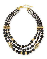 Jose And Maria Barrera Black Passementerie Beaded Necklace Yellow Black