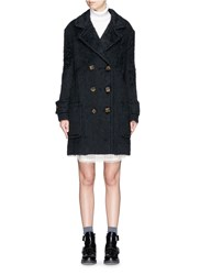 See By Chloe Double Breasted Mohair Effect Fleece Coat Black