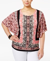 Jm Collection Plus Size Printed Butterfly Sleeve Top Only At Macy's Caribbean Tiles