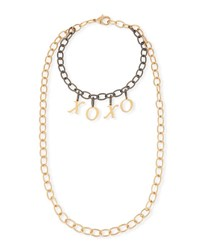 Hipchik Eugene Two Tone Xoxo Chain Necklace Yellow Silver