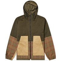 Barena Panelled Check Hooded Jacket Green