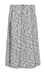 Nina Ricci Cotton Tweed Panelled Skirt Light Grey