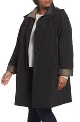 Gallery Plus Size Two Tone Long Silk Look Raincoat