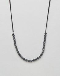 Icon Brand Bead And Chain Necklace In Black Black