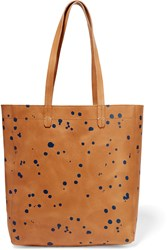 Clare V. Margot Printed Leather Tote Brown