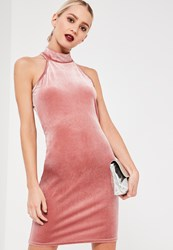 Missguided Pink High Neck Velvet Sleeveless Bodycon Dress Rose