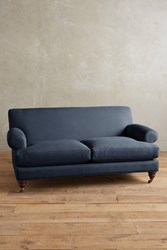 Anthropologie Linen Willoughby Sofa Hickory Legs Navy