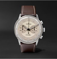 Junghans Meister Driver Chronoscope 40Mm Stainless Steel And Leather Watch Ref. No. 027 3684.00 Ecru