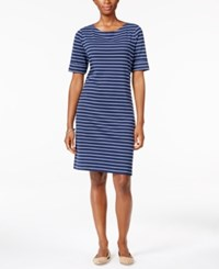 Karen Scott Elbow Sleeve Striped Dress Only At Macy's Intrepid Blue