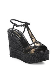 Sergio Rossi Puzzle Leather And Calf Hair Platform Espadrille Wedge Sandals Brown Multi