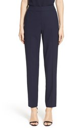 Women's St. John Collection 'Emma' Tropical Wool Crop Pants Navy