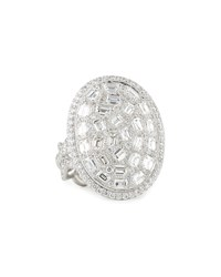 Rahaminov 18K White Gold Emerald Cut Diamond Oval Disc Ring